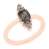 1.13 Ct Natural Salt Pepper Diamond I2/I3And White Diamond I2/I3 14k Rose Gold Vintage Style Ring