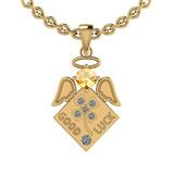 0.75 Ctw I2/I3 Citrine And Diamond 10K Yellow Gold Pendant
