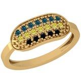 0.30 Ctw I1/I2 Treated Fancy Black ,Yellow,Blue Diamond 14K Yellow Gold Ring