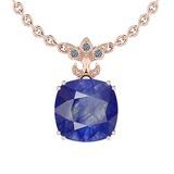 5.80 Ctw VS/SI1 Blue Sapphire And Diamond 14K White Gold Pendant