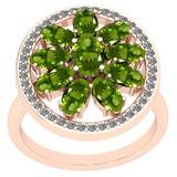 3.00 Ctw Peridot And Diamond I2/I3 14K Rose Gold Ring