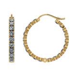 11.20 Ctw I2/I3 Diamond 10k Yellow Gold Hoop Earrings