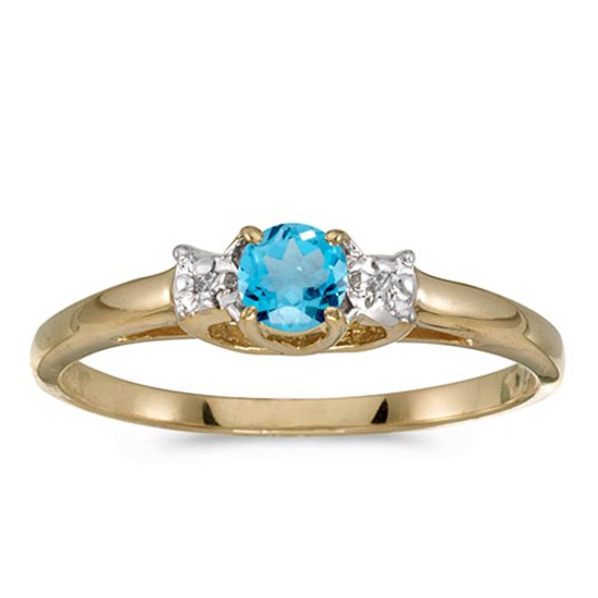 Certified 14k Yellow Gold Round Blue Topaz And Diamond Ring