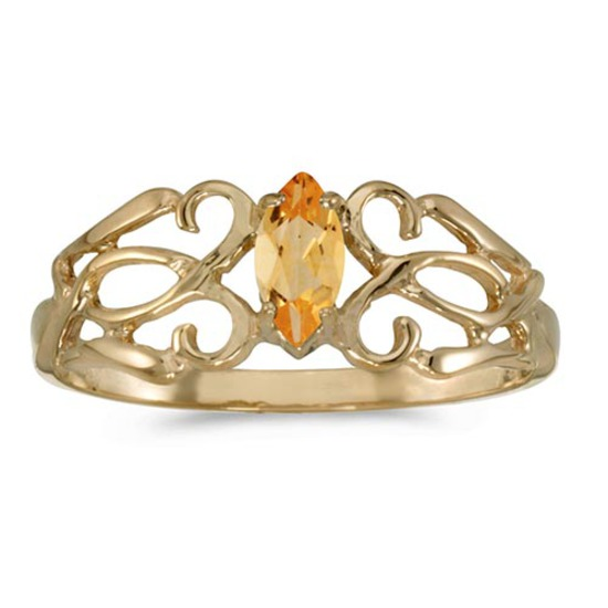 Certified 10k Yellow Gold Marquise Citrine Filagree Ring