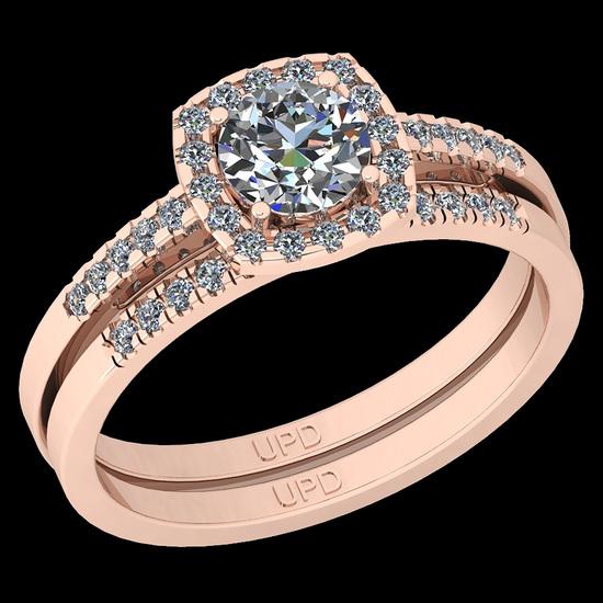 1.34 Ctw I2/I3 Diamond 10K Rose Gold Engagement Halo Set Ring