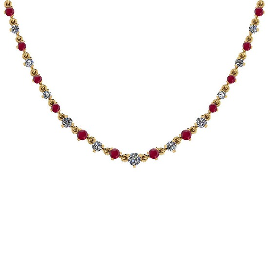 2.59 Ctw SI2/I1 Ruby And Diamond 14K Yellow Gold Necklace