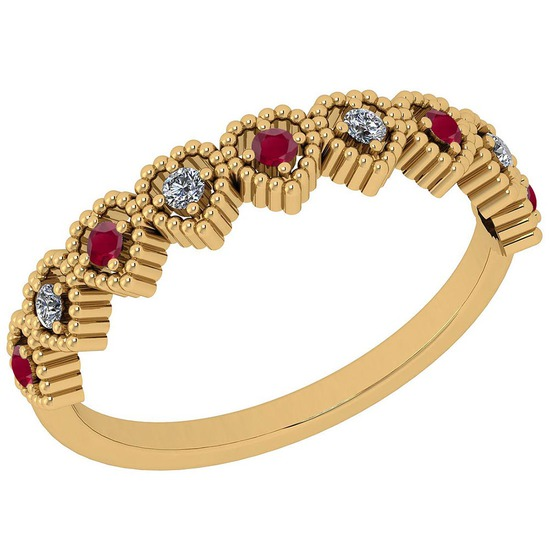 0.16 Ctw SI2/I1 Ruby And Diamond 14K Yellow Gold Band Ring
