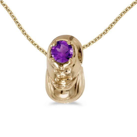 Certified 14k Yellow Gold Round Amethyst Baby Bootie Pendant