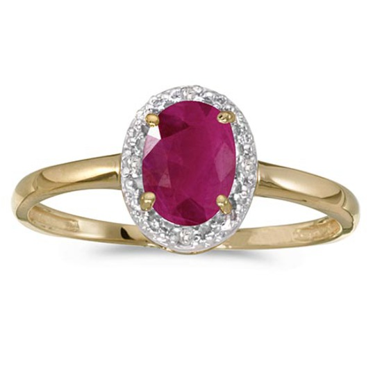 Certified 10k Yellow Gold Oval Ruby And Diamond Ring
