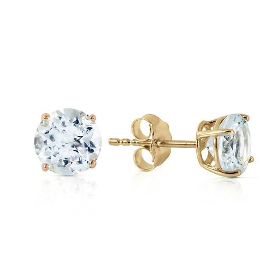 0.95 Carat 14K Solid Gold Wondrous Sea Aquamarine Earrings