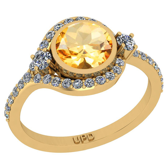 1.58 Ctw I2/I3 Citrine And Diamond 10K Yellow Gold Engagement Ring