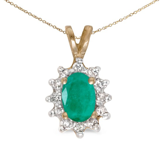 Certified 10k Yellow Gold Oval Emerald And Diamond Pendant
