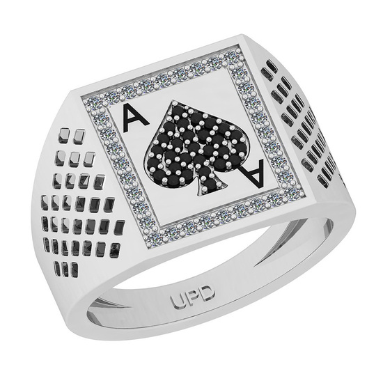 0.20 Ctw SI2/I1 Treated Fancy Black And White Diamond 14K White Gold Gifts For Players Men's Ring