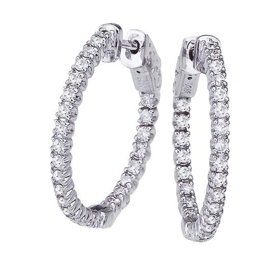 Certified 14K 1ct White Gold Diamond Secure Lock 24 mm Hoop Earrings