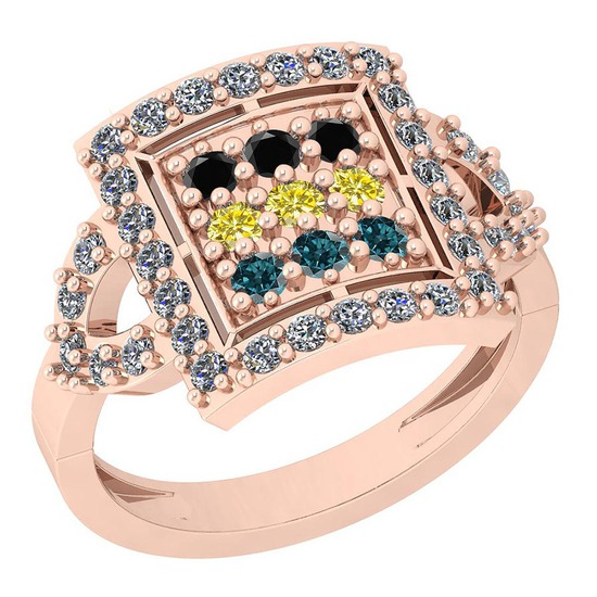 0.80 Ctw I2/I3 Treated Fancy Blue ,Black,Yellow And White Diamond 14K Rose Gold Ring