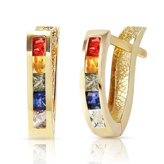 1.3 Carat 14K Solid Gold Huggie Earrings Multicolor Sapphire
