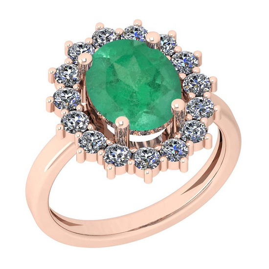 3.28 Ctw VS/SI1 Emerald And Diamond 14K Rose Gold Vintage Style Ring