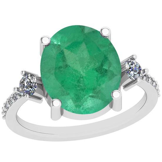 3.96 Ctw VS/SI1 Emerald And Diamond Platinum Vintage Style Ring