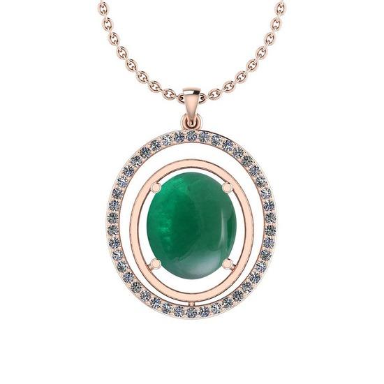 16.83 Ctw VS/SI1 Emerald And Diamond 14K Rose Gold Pendant