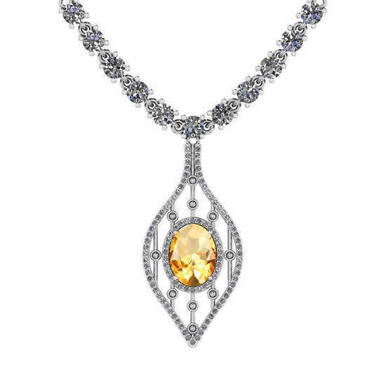 7.20 Ctw Citrine And Diamond I2/I3 14K White Gold Pendant Necklace