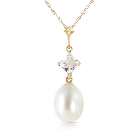 4.5 Carat 14K Solid Gold Intimations White Topaz pearl Necklace
