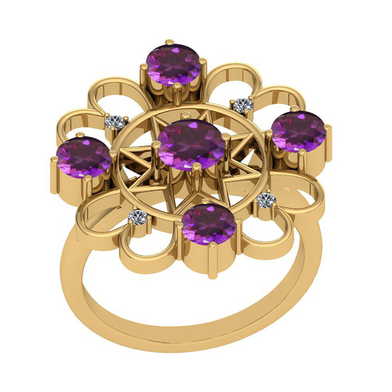1.55 Ctw VS/SI1 Amethyst And Diamond 10K Yellow Gold Vintage Ring