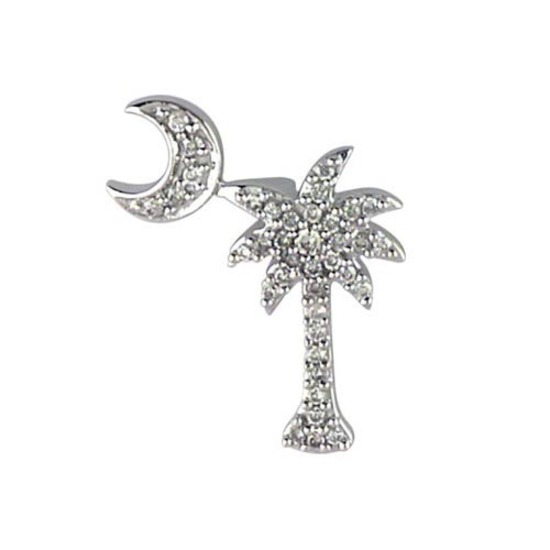 Certified 14K White Gold .15 Ct Diamond Palm Tree and Crescent Moon Pendant