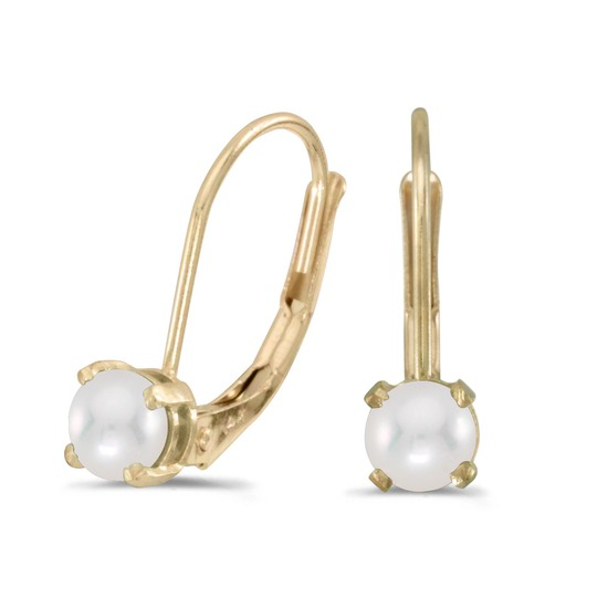 Certified 14k Yellow Gold Pearl Lever-back Earrings