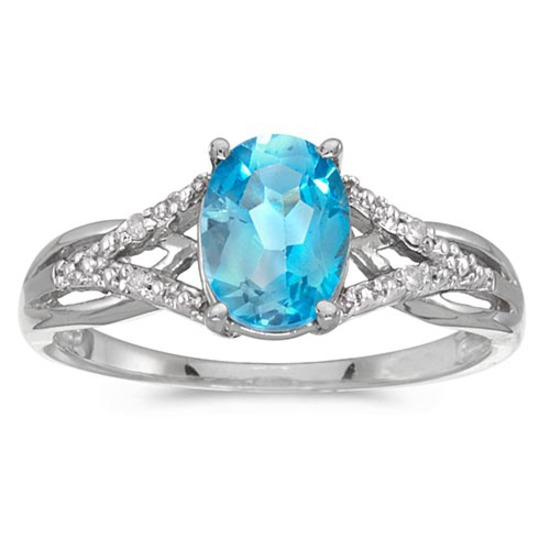 Certified 10k White Gold Oval Blue Topaz And Diamond Ring