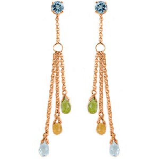 14K Solid Rose Gold Chandelier Earrings with Blue Topaz, Citrines & Peridots