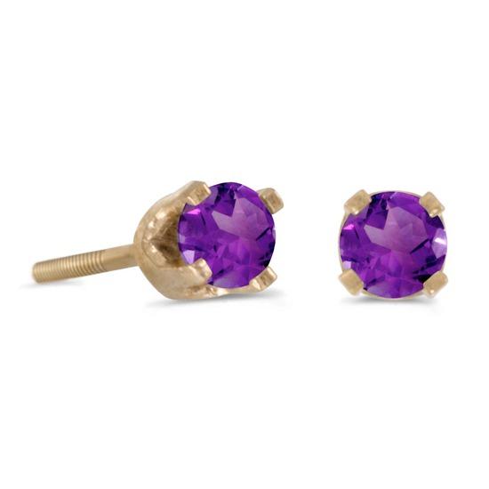 Certified 3 mm Petite Round Amethyst Stud Earrings in 14k Yellow Gold