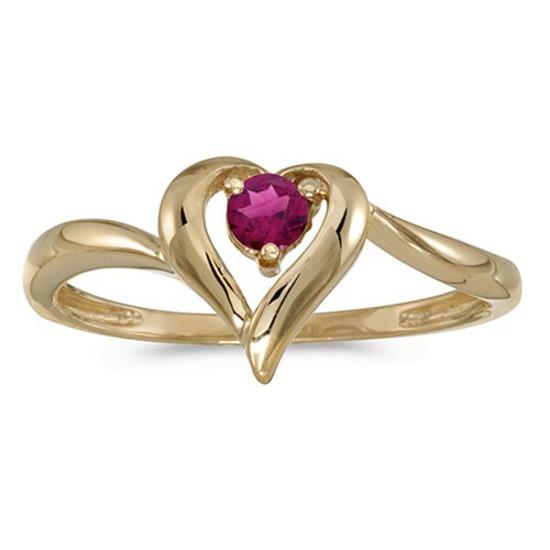 Certified 10k Yellow Gold Round Rhodolite Garnet Heart Ring