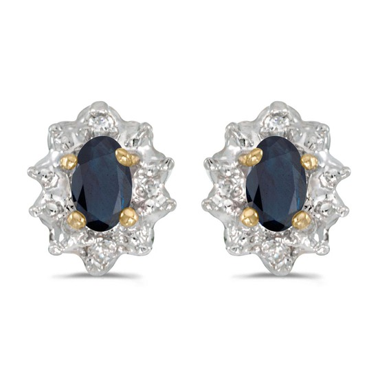 Certified 14k Yellow Gold Oval Sapphire And Diamond Earrings
