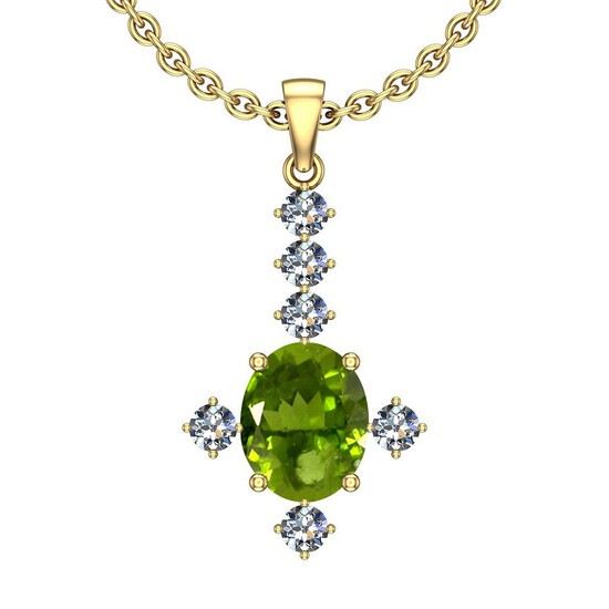 0.41 Ctw VS/SI1 Peridot And Diamond 10K Yellow Gold Necklace