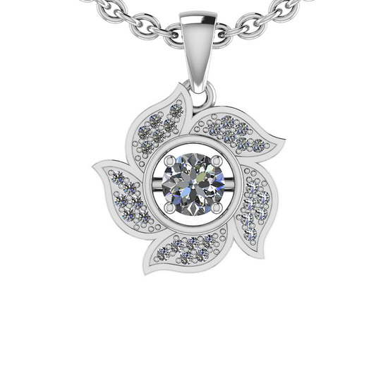 0.64 Ctw SI2/I1 Diamond Style 14K White Gold Pendant