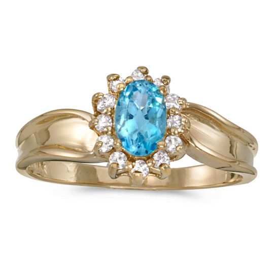 Certified 14k Yellow Gold Oval Blue Topaz And Diamond Ring 0.54 CTW