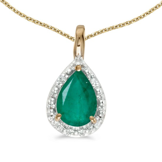 Certified 10k Yellow Gold Pear Emerald Pendant 0.64 CTW