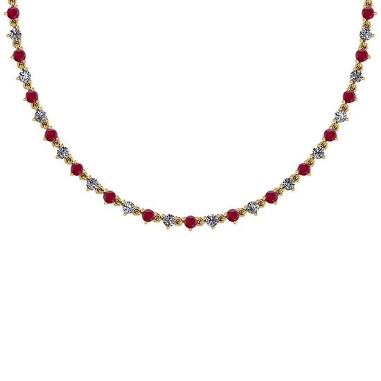 3.48 Ctw SI2/I1 Ruby And Diamond 14K Yellow Gold Necklace