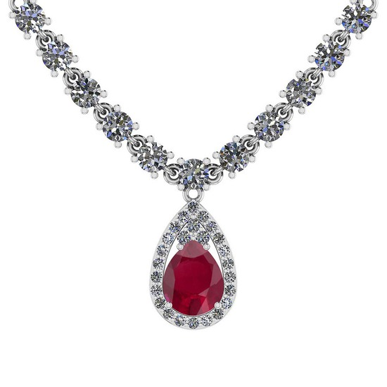 14.44 Ctw SI2/I1 Ruby And Diamond 14K White Gold Necklace