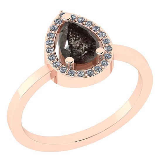 1.11 Ct Natural Salt Pepper Diamond I2/I3And White Diamond I2/I3 14k Rose Gold Engagement Halo Ring