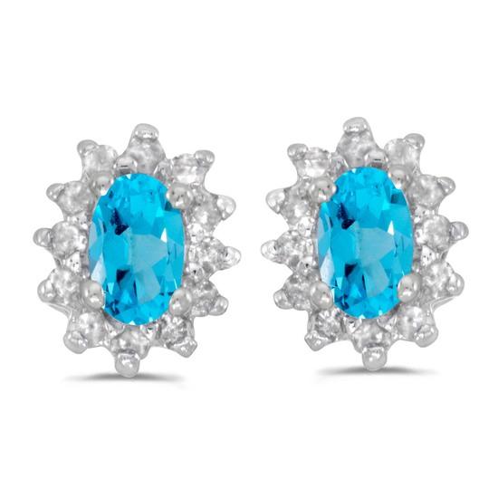 Certified 14k White Gold Oval Blue Topaz And Diamond Earrings