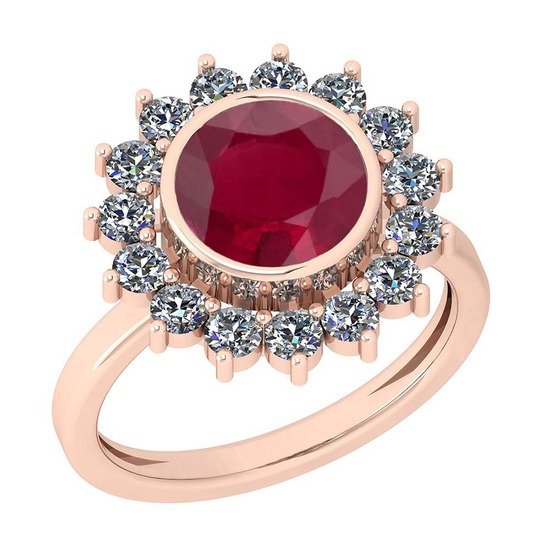 2.87 Ctw VS/SI1 Ruby And Diamond 14K Rose Gold Vintage Style Ring