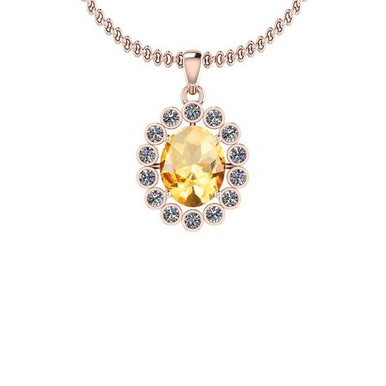 2.69 Ctw Citrine And Diamond I2/I3 10K Rose Gold Vintage Style Pendant