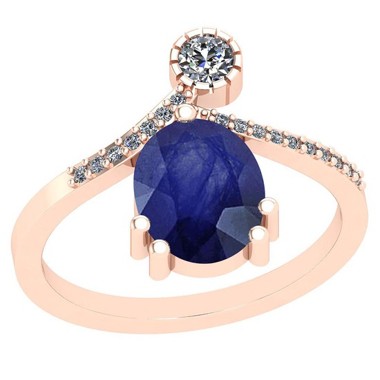 3.45 CtwBlue Sapphire And Diamond I2/I3 10K Rose Gold Vintage Style Ring