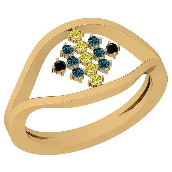 0.18 Ctw SI2/I1 Treated Fancy Black ,Yellow,Blue,Diamond 14K Yellow Gold Ring
