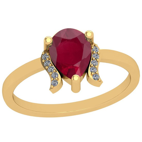 0.80 Ctw Ruby And Diamond I2/I3 14K Yellow Gold Vintage Style Ring