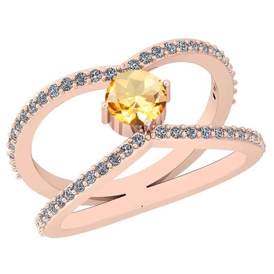0.88 Ctw Citrine And Diamond I2/I310K Rose Gold Vintage Style Ring