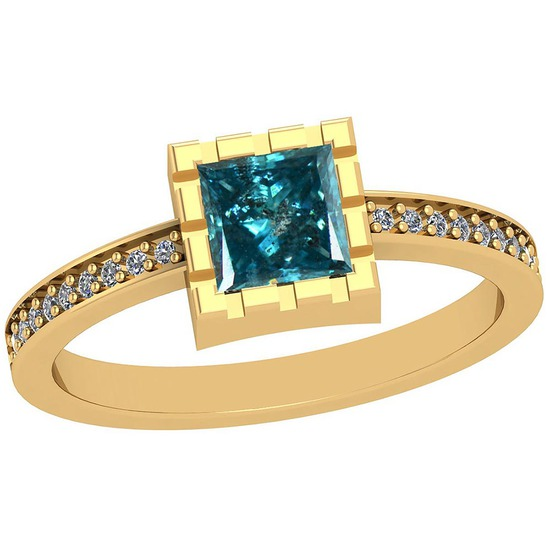 0.77 Ctw I2/I3 Treated Fancy Blue And White Diamond Platinum 14K Yellow Gold Plated Ring