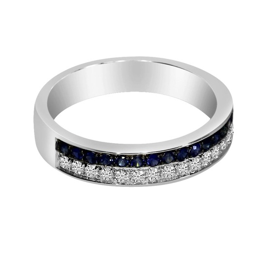 Certified 14k White Gold Double Sapphire Channel Band 0.46 CTW
