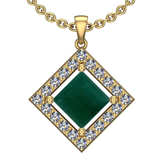 9.95 Ctw VS/SI1 Emerald And Diamond Platinum 14K Yellow Gold Plated Pendant